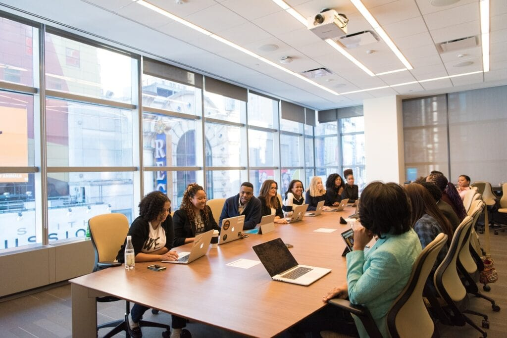 Project members in a conference room