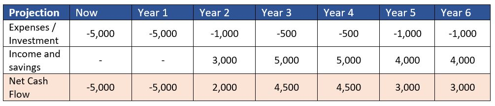 Net Cash Flows per year