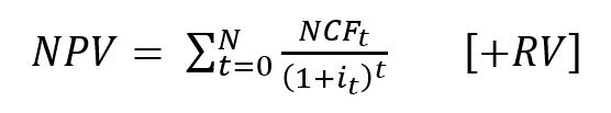 Net present value (NPV) formula - Sum of Cash Flow / (1+i)^t