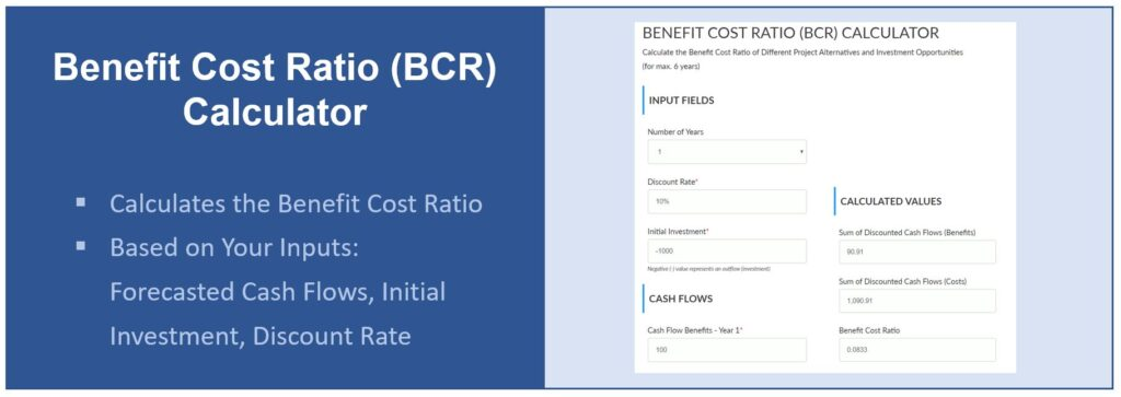 Screenshot Benefit Cost Ratio Calculator