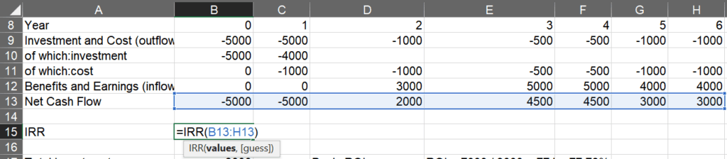 Calculating the internal rate of return using the Excel IRR function