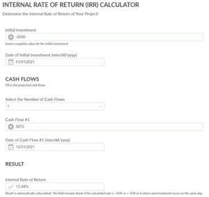 Screenshot of the Internal Rate of Return Calculator (IRR)