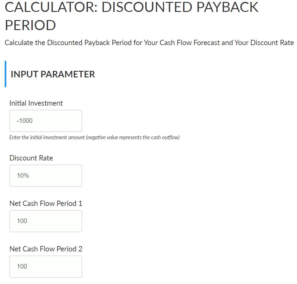 Screenshot Discounted Payback Period Calculator (DPP)